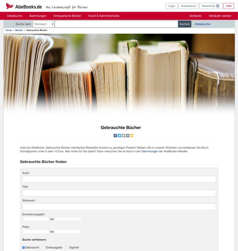 Bücher verkaufen AbeBooks